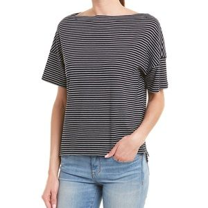 Vince Boatneck Classic Stripe Blue T-shirt Size S